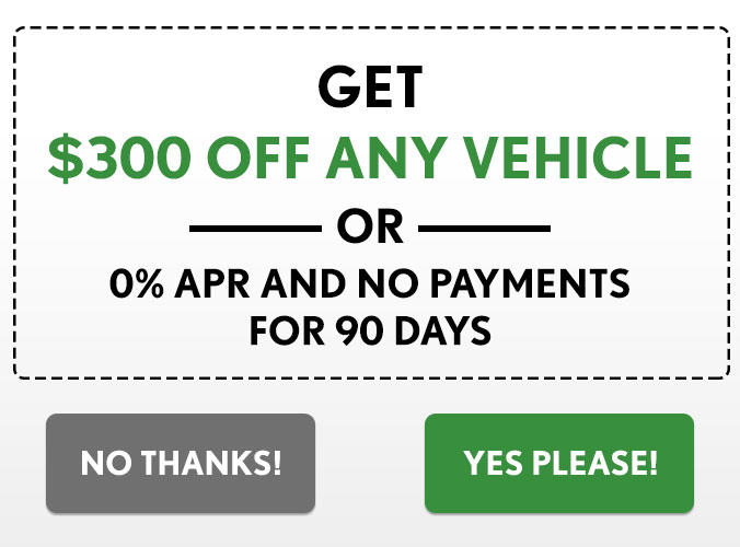 $300 OFF ANY VEHICLE OR 0% APR & NO PAYMENTS FOR 90 DAYS
