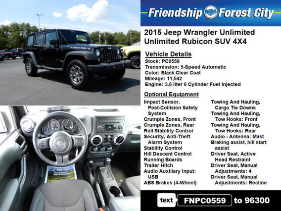Pre Owned 2015 Jeep Wrangler Unlimited Unlimited Rubicon Pc0559