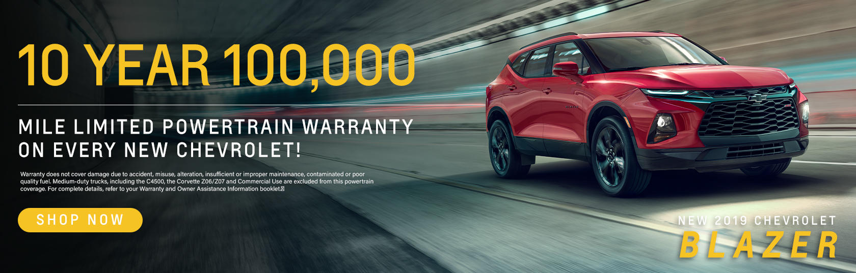 10 Year 100,000 Mile Limited Powertrain Warranty On Every New Chevrolet!