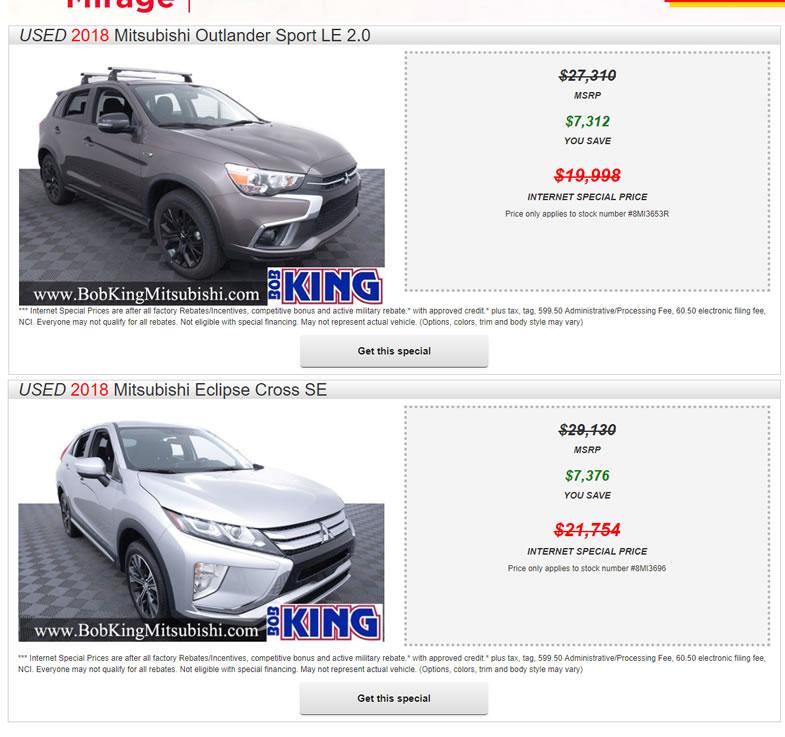 Mitsubishi July Savings 2019