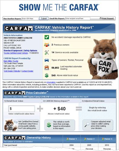 Sample CARFAX Report