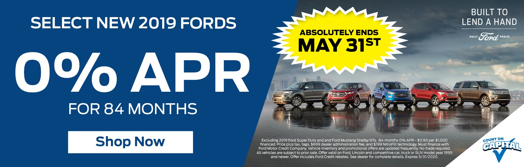 0% APR Banner for 2019 Fords