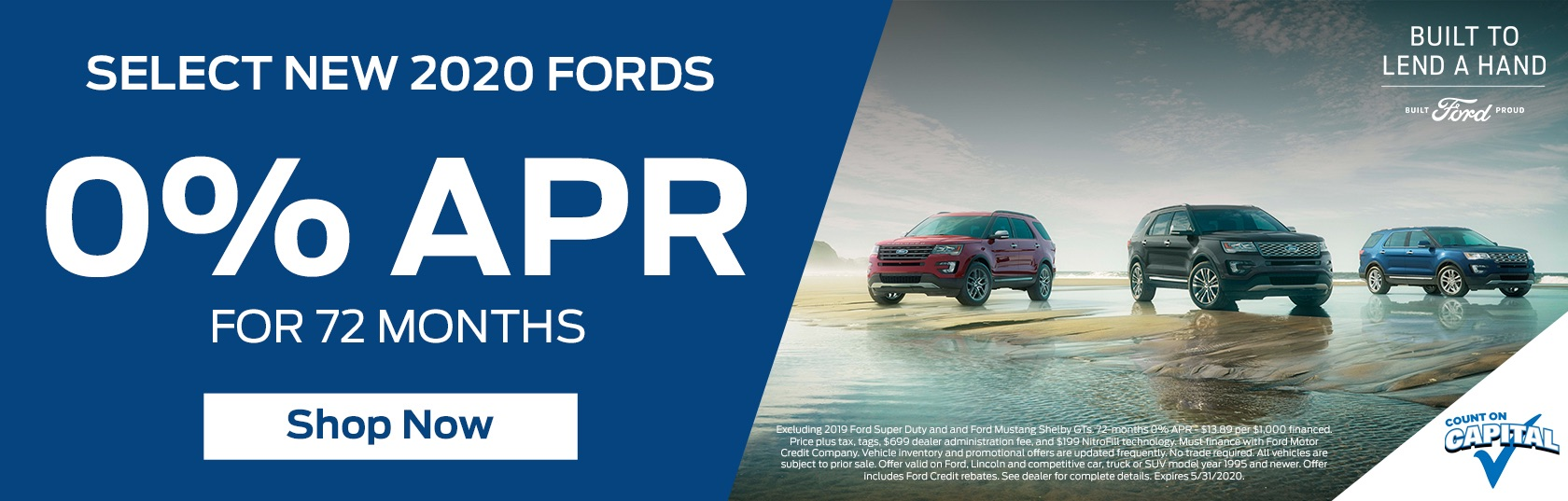 0% APR Banner for 2020 Fords