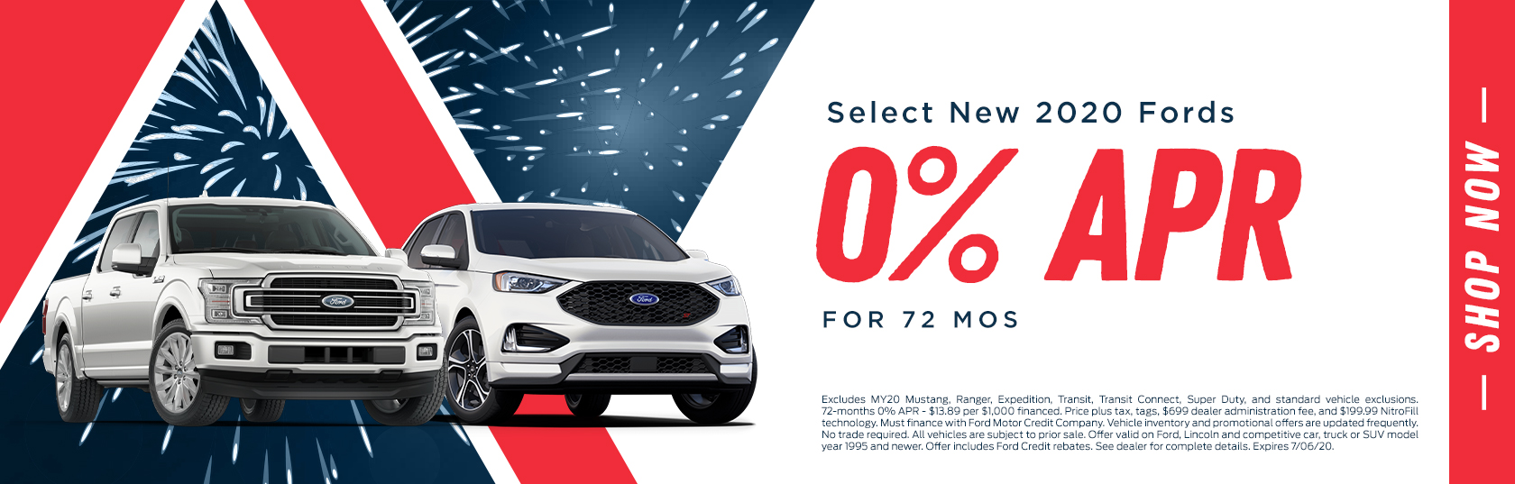Select New 2020 Fords 0% APR for 72 Months