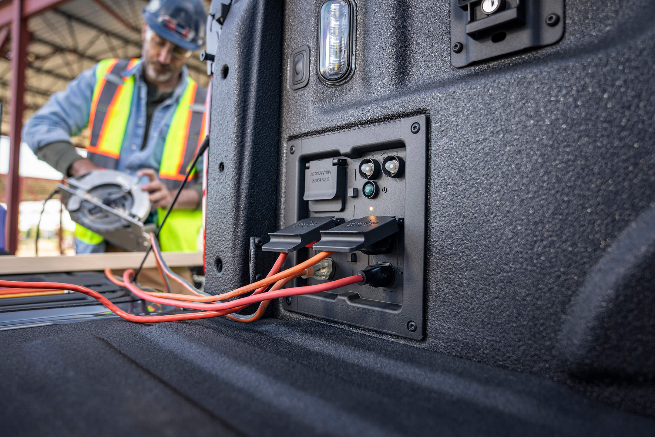 ford f150 built in power outlets being used for the job