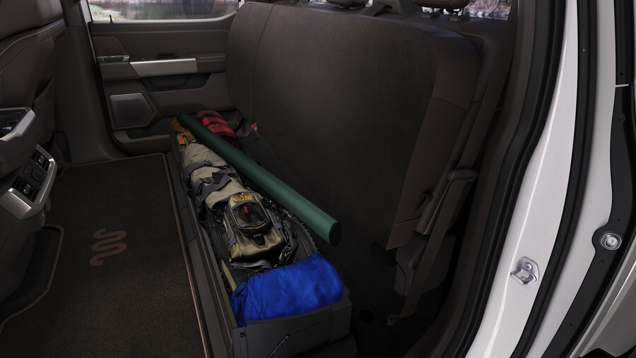 Ford F-150 stow away storage in back seat