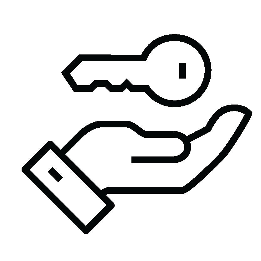 Hand holding key icon