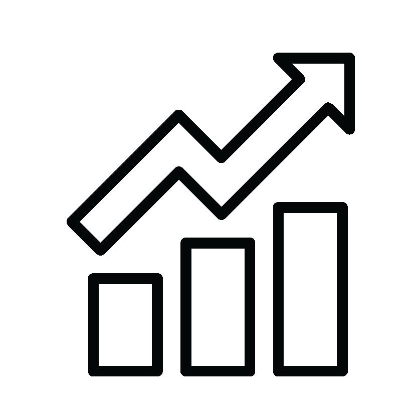 Upward trending data icon