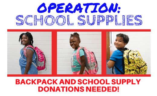 Operation: School Supplies with kids wearing backpacks