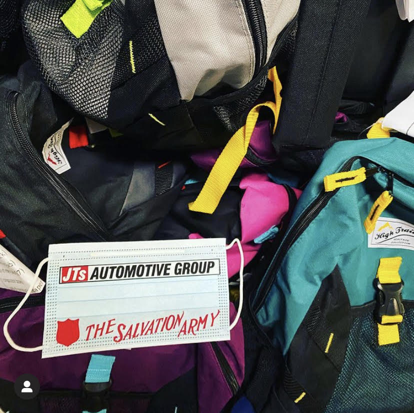 Backpacks being donated by JT's auto