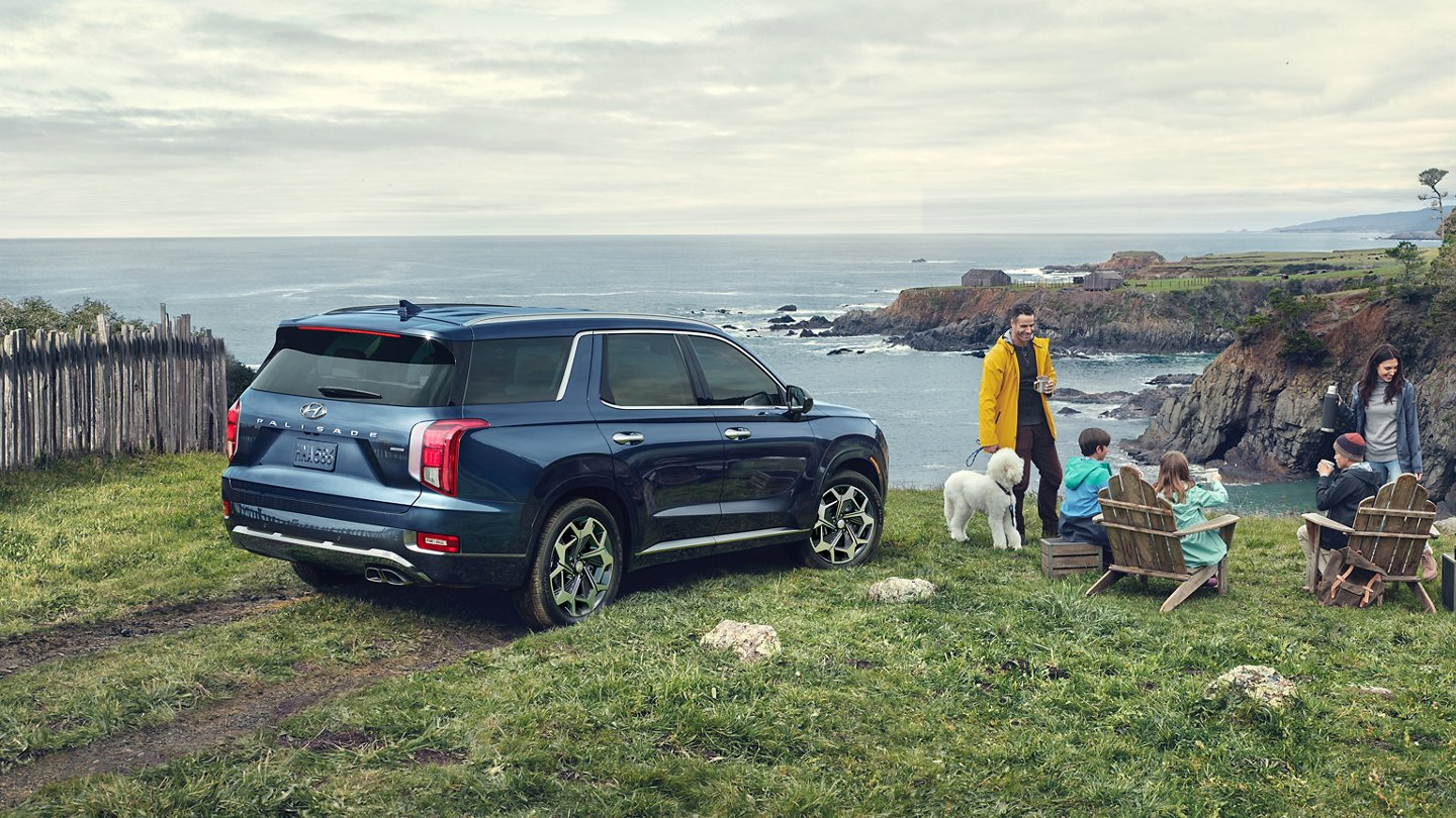 New Hyundai Palisade parked near the coast as a family with a white poodle relaxes nearby