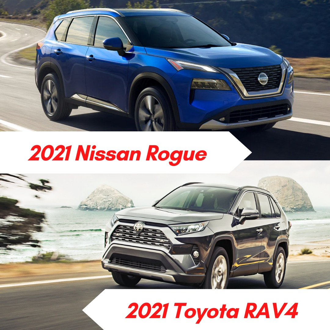 Blue 2021 Nissan Rogue driving on the road and gray 2021 Toyota RAV4 driving on the road by the sea