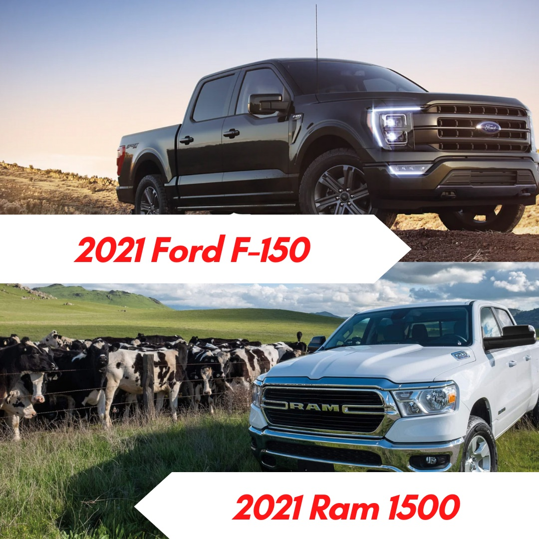 A gray 2021 Ford F-150 parked in the dirt and a white 2021 Ram 1500 parked in a field