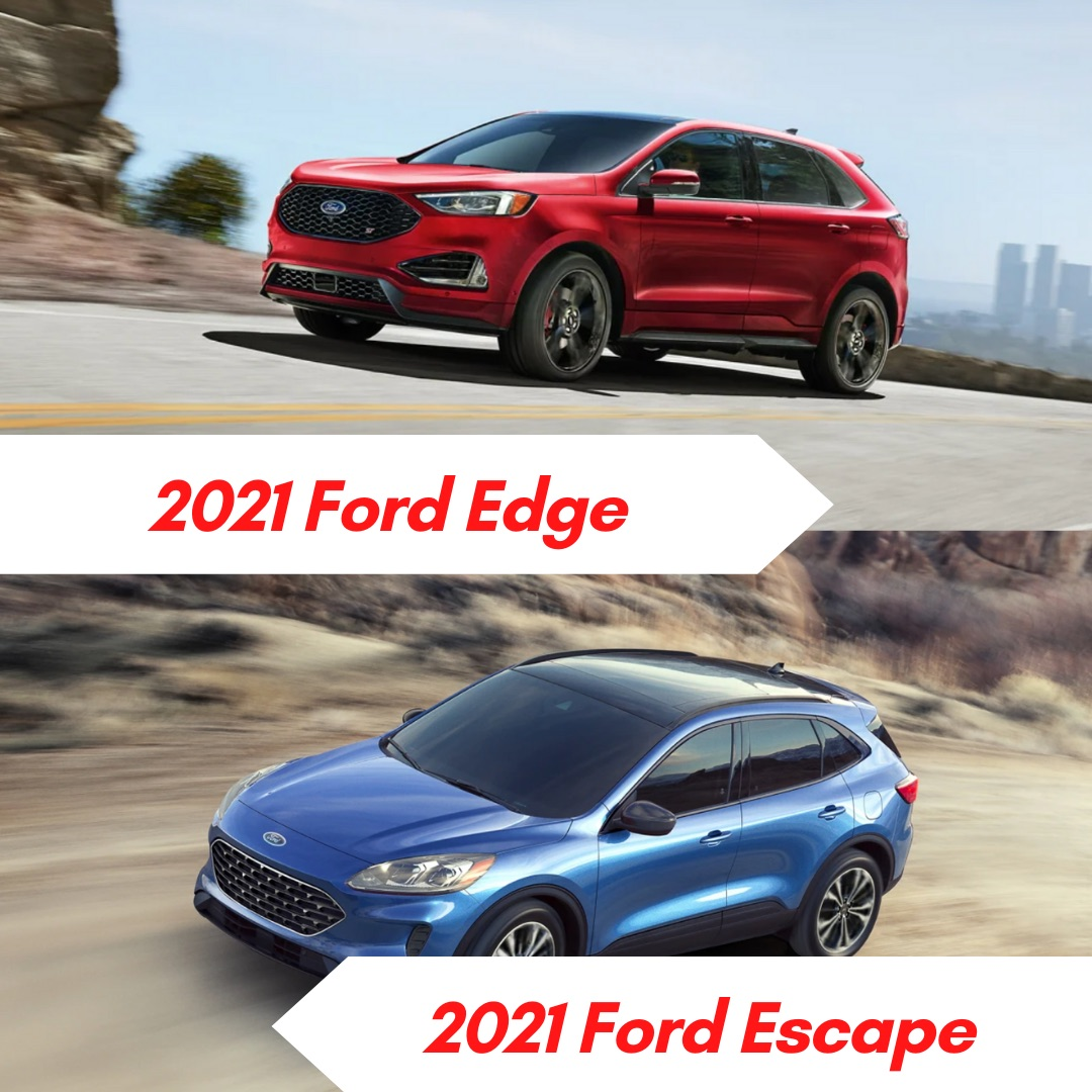 A red 2021 Ford Edge driving on the road with a city in the background and a blue 2021 Ford Escape driving on a road