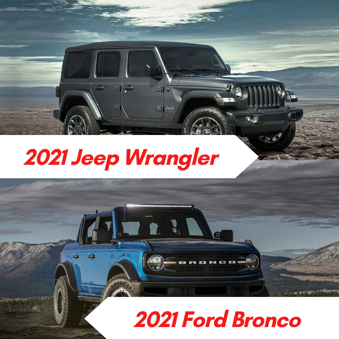 A gray 2021 Jeep Wrangler parked in the desert and a blue 2021 Ford Bronco parked outside by a mountain