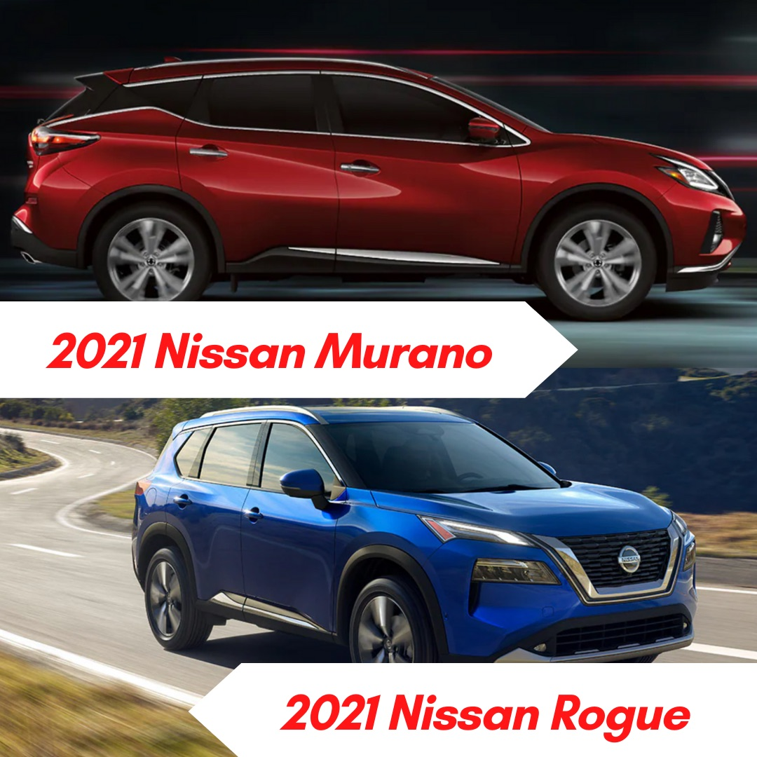 A red 2021 Nissan Murano driving at night and a blue 2021 Nissan Rogue driving on the road in the daytime by a scenic overlook