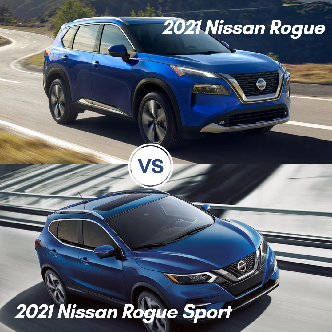 A blue 2021 Nissan Rogue and a blue 2021 Nissan Rogue Sport driving on the road