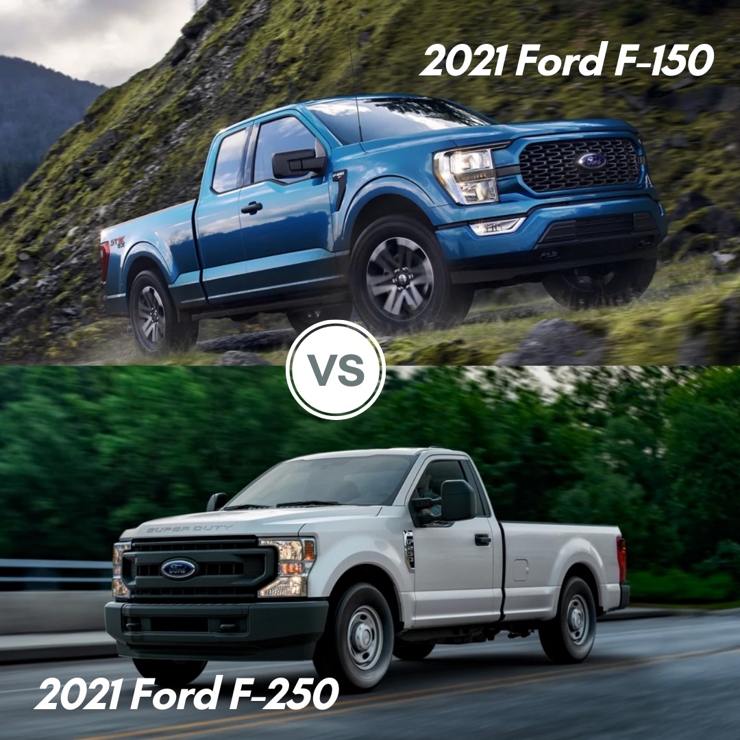 A blue 2021 Ford F-150 driving up a mountain and a white 2021 Ford F-250 driving on the road