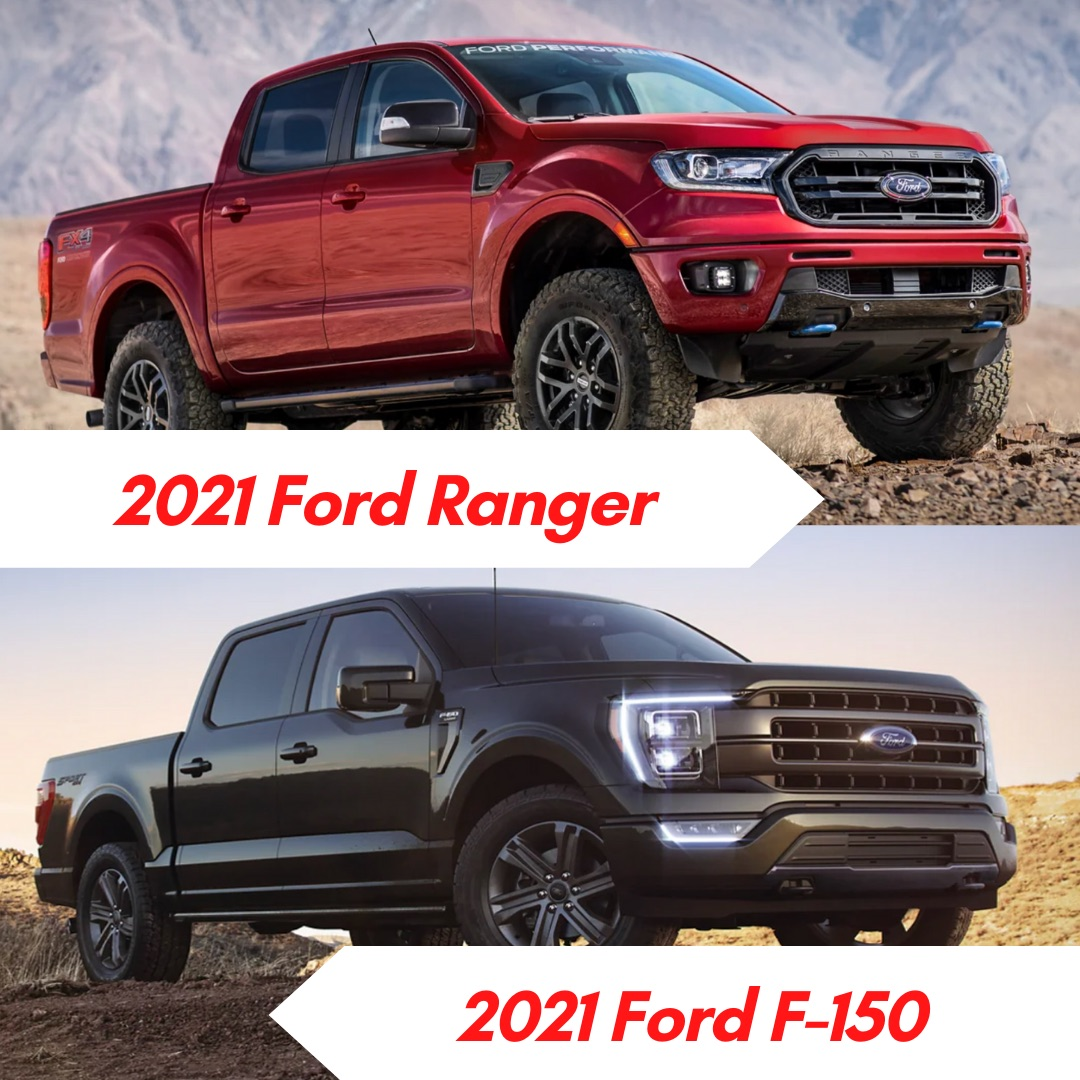 A red 2021 Ford Ranger parked by a mountain and a green 2021 Ford F-150 parked in the desert