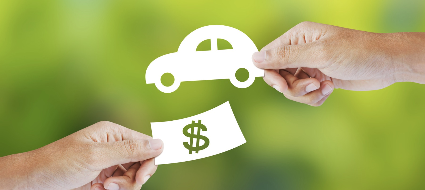 Hands exchanging graphic of car for graphic of dollar bill.