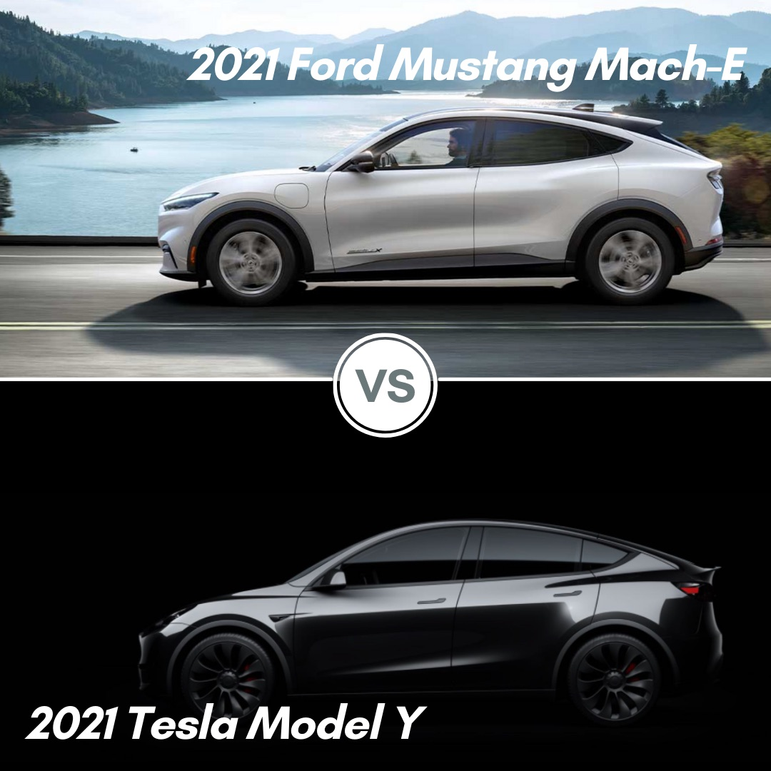A silver 2021 Ford Mustang Mach-E and a black 2021 Tesla Model Y