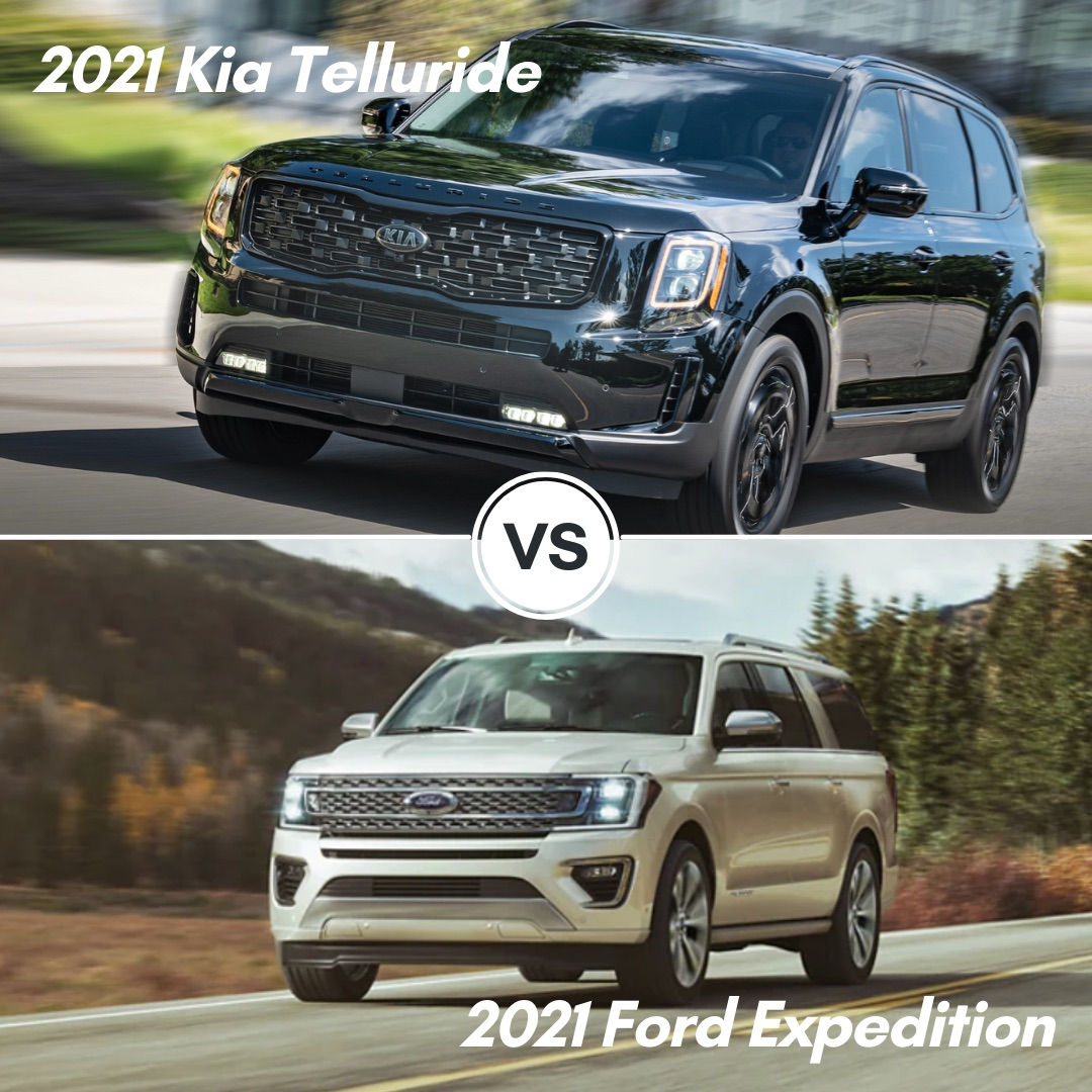 A black 2021 Kia Telluride SUV driving on the road and a white 2021 Ford Expedition SUV driving on the road through the mountains