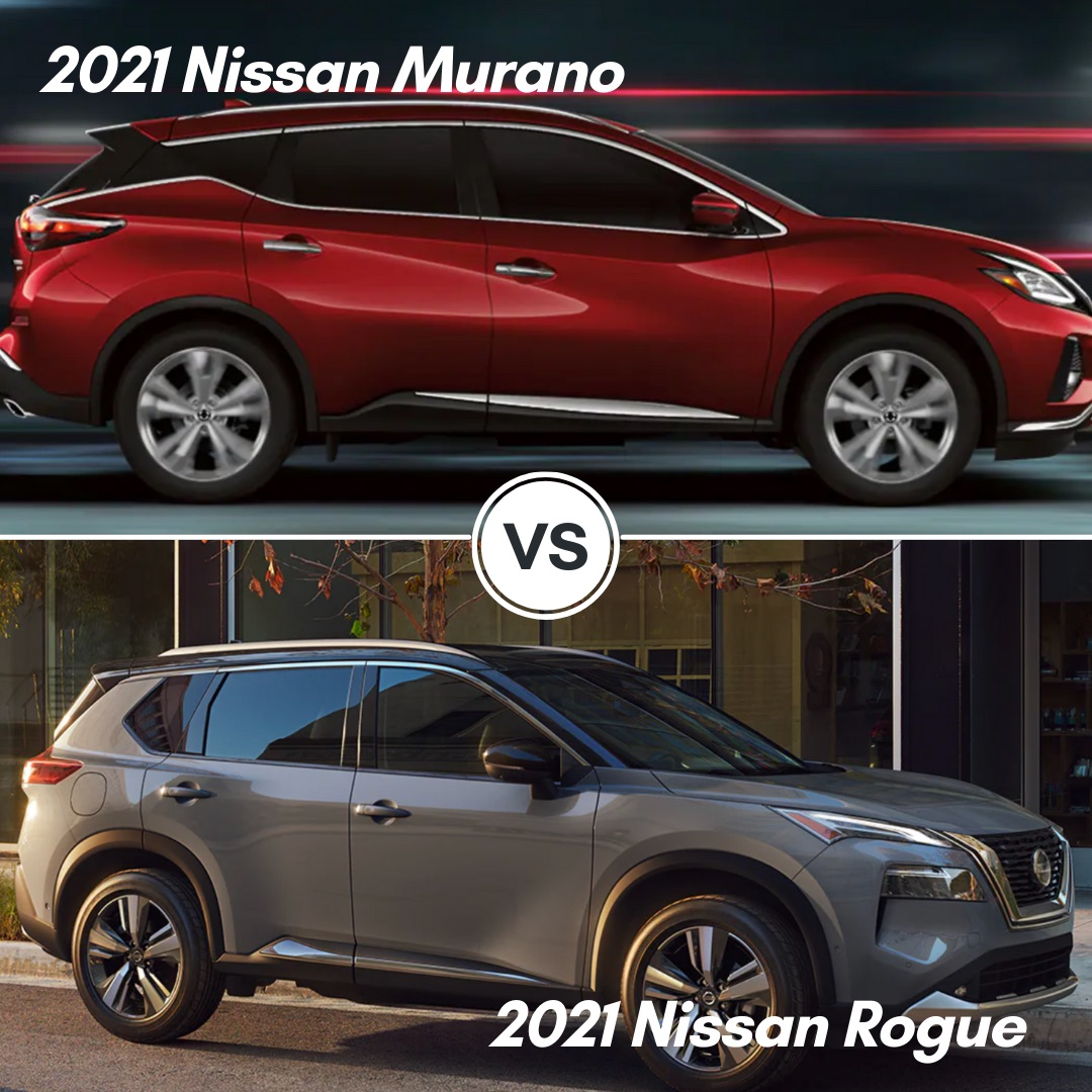A red 2021 Nissan Murano parked and a gray 2021 Nissan Rogue parked