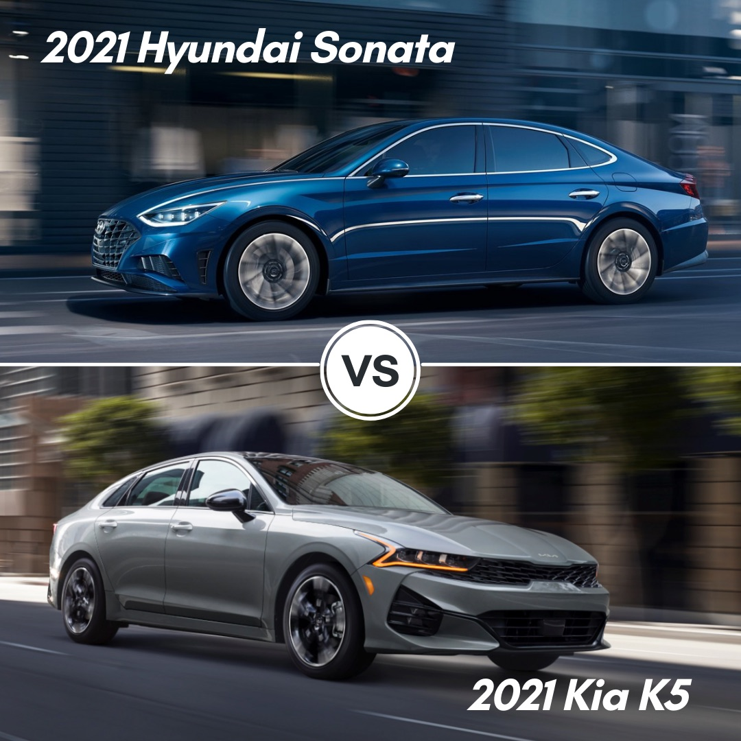 A blue 2021 Hyundai Sonata driving on the road and a gray 2021 Kia K5 driving on the road