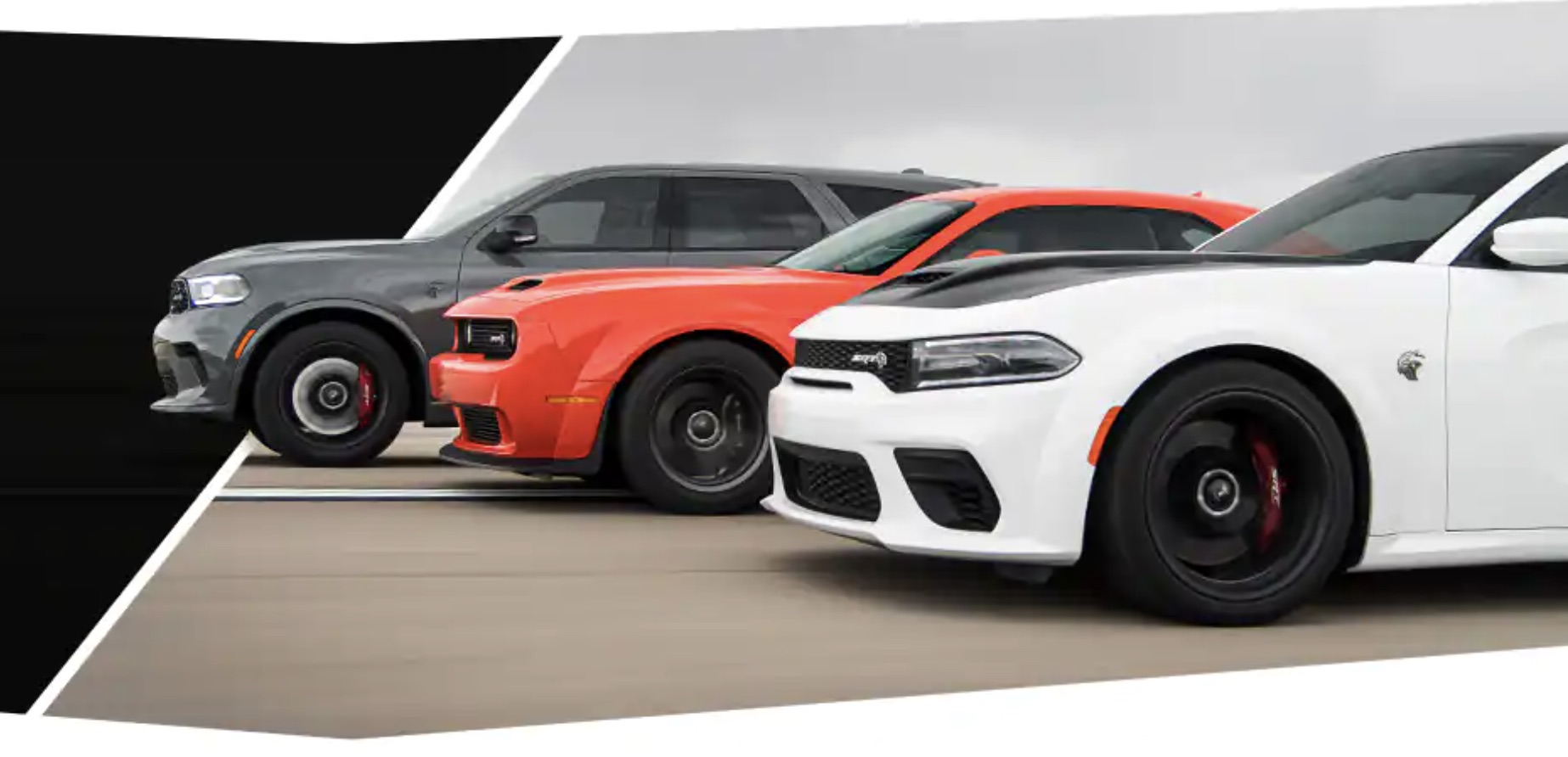 Three 2021 Dodge vehicles lined up in a row