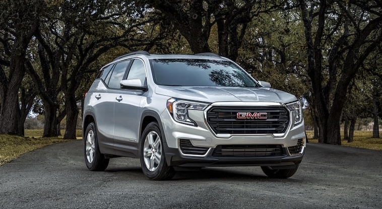 A silver 2022 GMC Terrain parked on the road path under trees