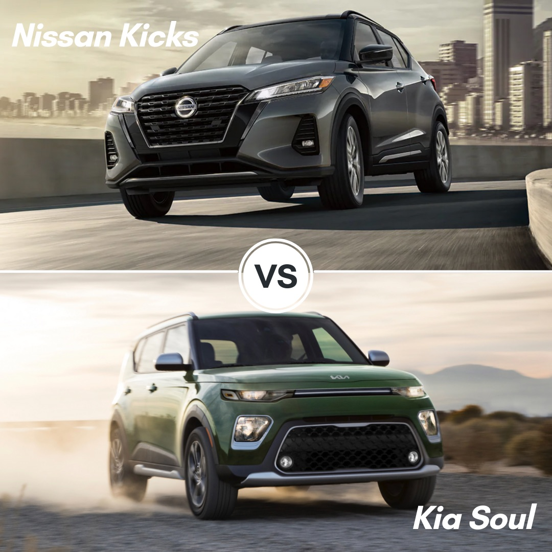 A gray 2021 Nissan Kicks driving on the bridge by the city and a green 2022 Kia Soul driving through the desert