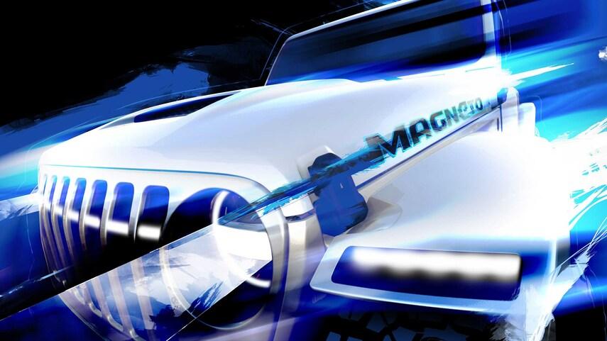 Close up image of a futuristic looking Jeep EV concept