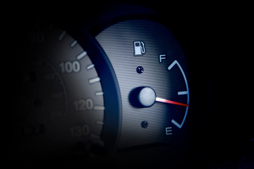Close up image of gas gauge in vehicle