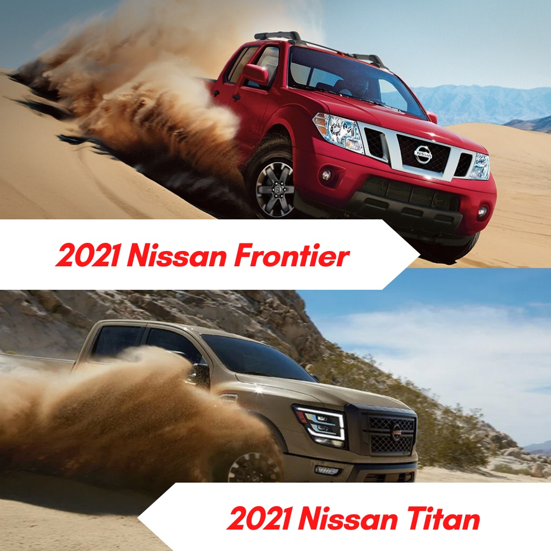 A red 2021 Nissan Frontier and a brown 2021 Nissan Titan truck driving through the desert